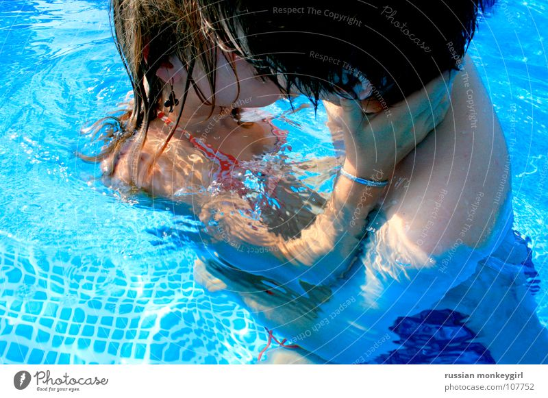 Human being Blue White Summer Love Life Cold Eroticism Playing Emotions Warmth Hair and hairstyles Friendship Waves Arm Wet