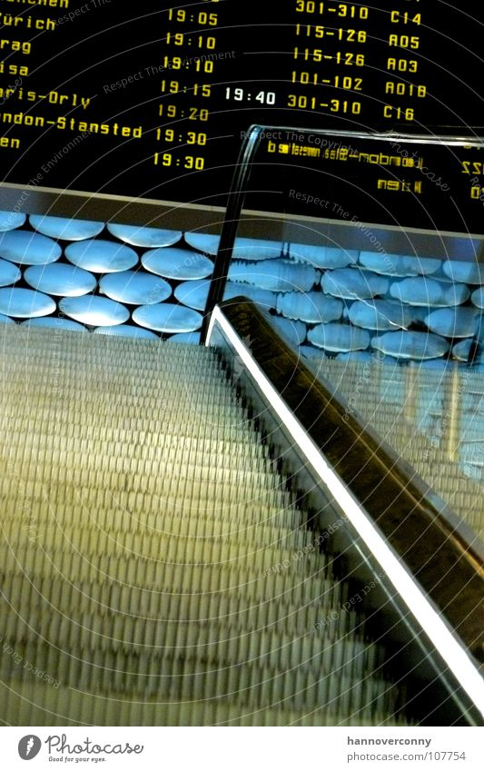 Stairway to the sky Escalator Paris London Departure lounge Arrival Airplane Expectation Airport Aviation Blanket arrivals hall Display