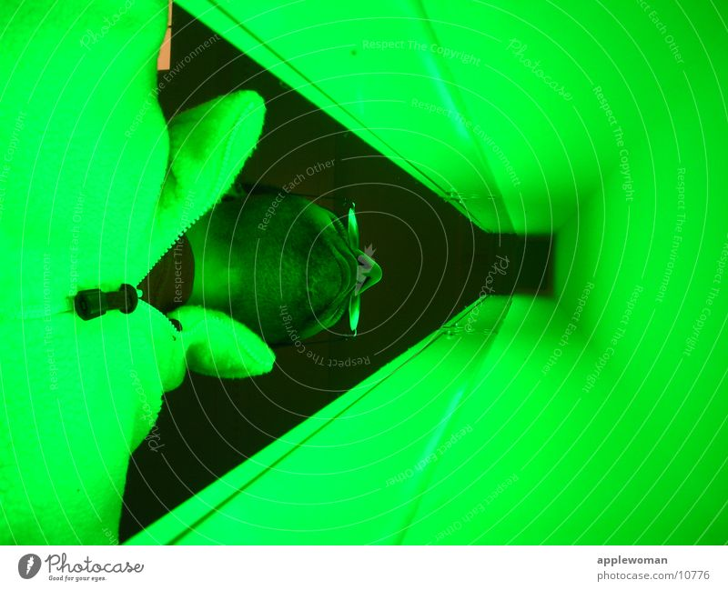 green Hamburg Station Man Neon light Green Worm's-eye view Vanishing point sneeze