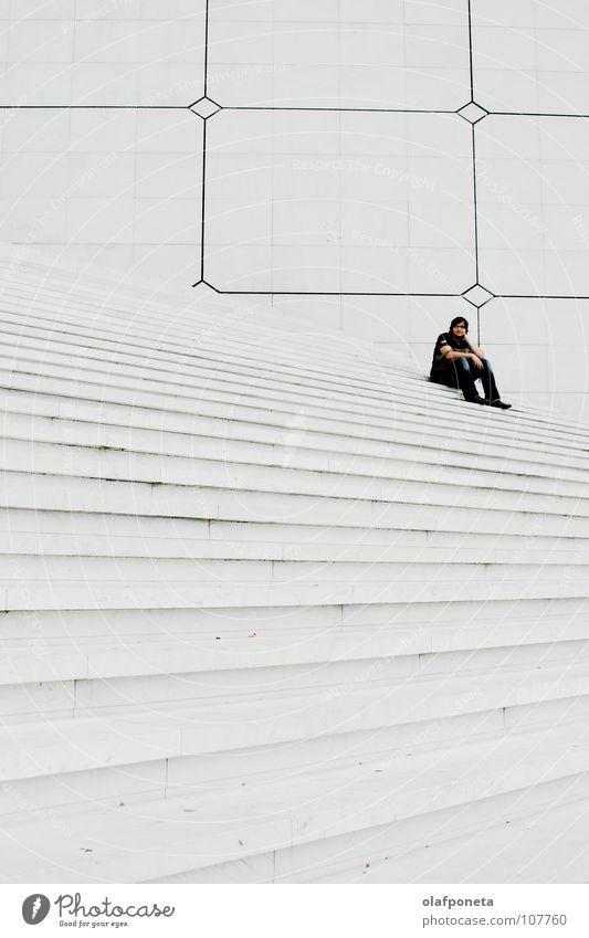 Man White Calm Lamp Bright Large Tall Sit Stairs Modern Paris Square France Black & white photo La Défense