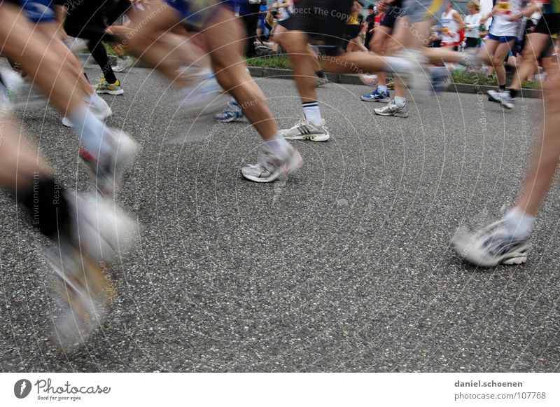 Beautiful legs Jogging Speed Footwear Sneakers Endurance Motion blur Marathon Asphalt Gray White Success Fitness Group Walking Running Movement Legs Healthy