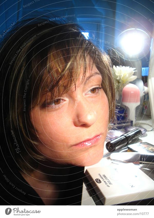 Woman Blue Face Brown Bathroom Mirror Make-up Cosmetics Room