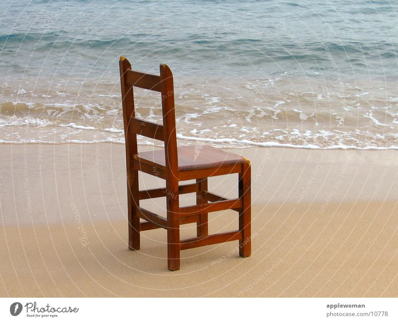 chair by the sea Spain Majorca Ocean Beach Waves Wood January Beige Central perspective Side Obscure Chair Water Sand Blue