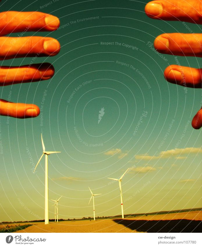 the handling Wind energy plant Propeller Renewable Ecological Eco-friendly Technology Environmental pollution Industrial district Blue sky Deface Engines