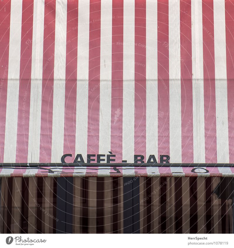 Caffè - Bar Vacation & Travel Cocktail bar Italian Italy Town Characters Retro Red White Café Terrace Sun blind Striped Detail Sidewalk café Colour photo