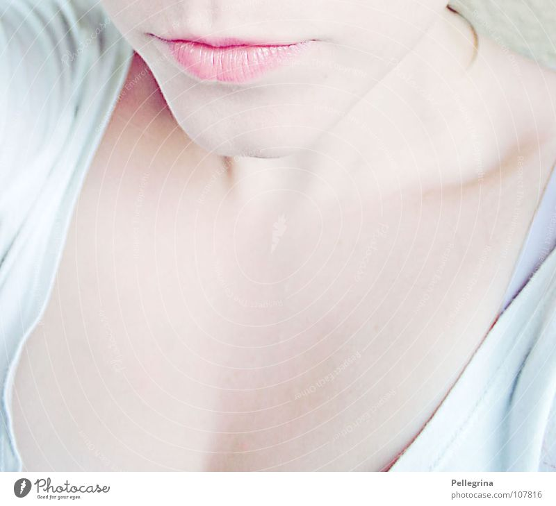 Woman White Calm Mouth Pink Lips Shoulder Pallid Neck Smooth Skeleton Chin Face