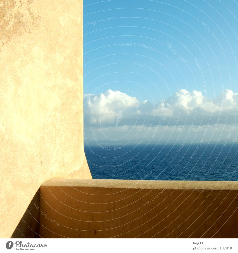 Window with view Corsica Vacation & Travel Sailing Watercraft Wall (barrier) Clouds Ocean Vantage point White Beige Bonifacio Beach Relaxation Waves Gale