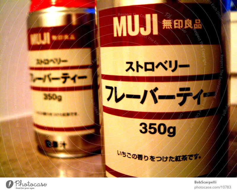 MUJI Tin Beverage Contents summary Shallow depth of field 2 Characters Japanese Deserted Muji Close-up Detail Round Canned drink Aluminum container Aluminium