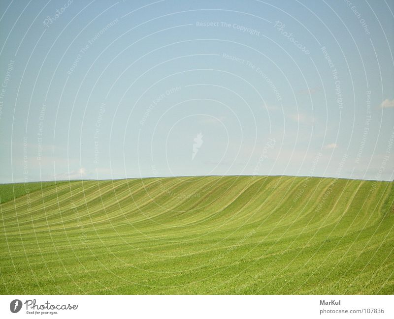 Soft hill into infinity Horizon Infinity Peace Calm Far-off places soft hill mown meadow against the sky Freedom