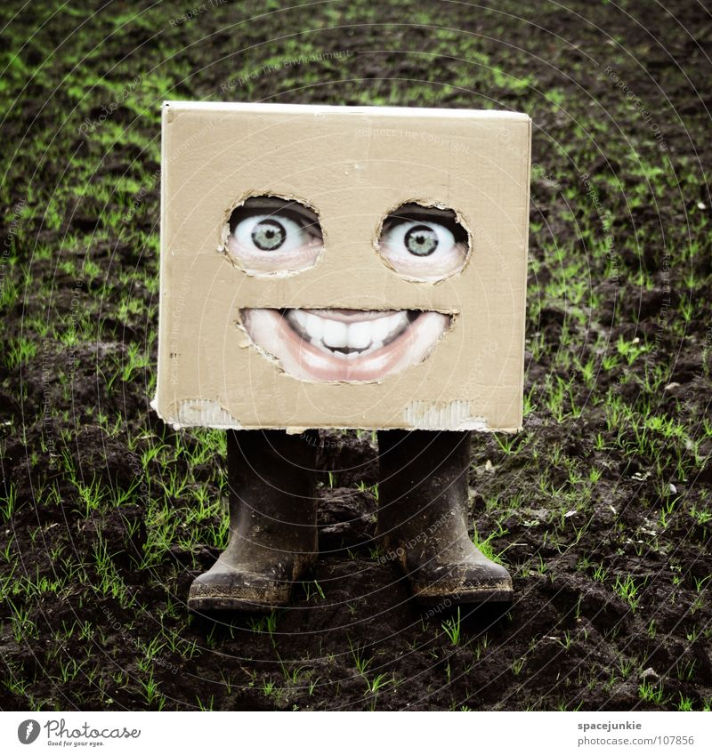 In the countryside Cardboard Whimsical Humor Freak Square Village Field Boots Rubber boots Joy Face Mask Hiding place Hide Americas Earth