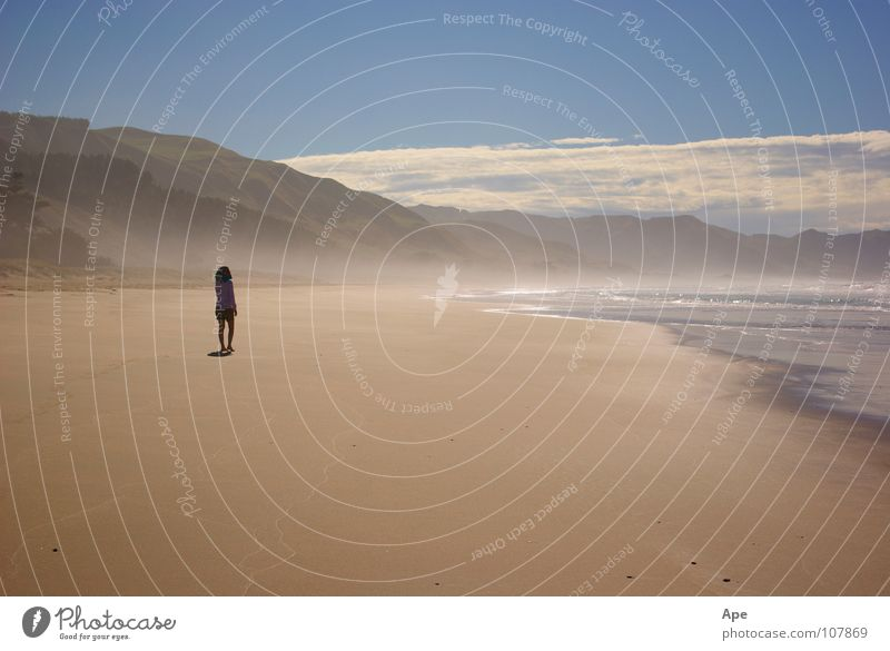 Human being Water Sky Ocean Blue Beach Calm Clouds Loneliness Mountain Warmth Sand Going Fog Walking Physics