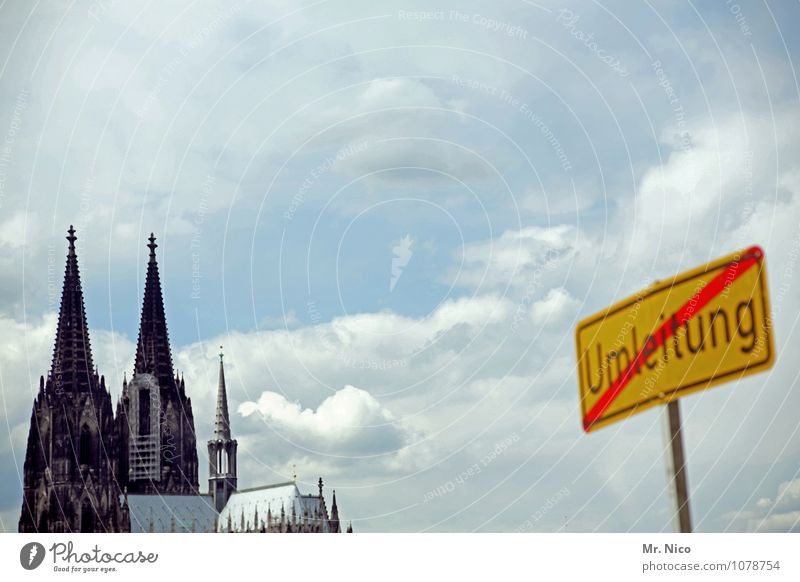 Large construction site Cologne City trip Environment Sky Clouds Town Building Tourist Attraction Landmark Chaos Cologne Cathedral Religion and faith Weather