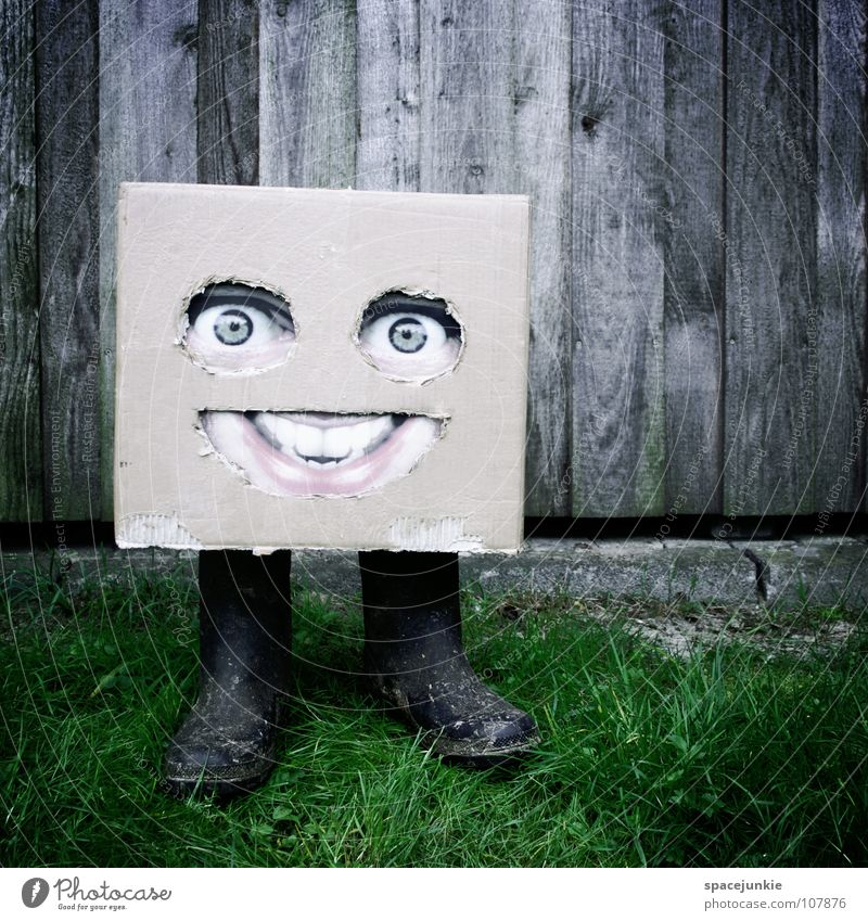 In the country (2) Cardboard Whimsical Humor Freak Square Village Field Boots Rubber boots Wall (building) Wood Green Joy Face Mask Hiding place Hide Americas