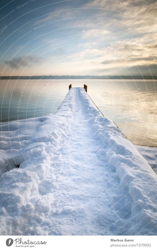 Bridge in the snow Relaxation Vacation & Travel Winter Nature Water Sky Lakeside Peace Starnberg Germany Europe tutzing Footbridge Footpath Calm Colour photo