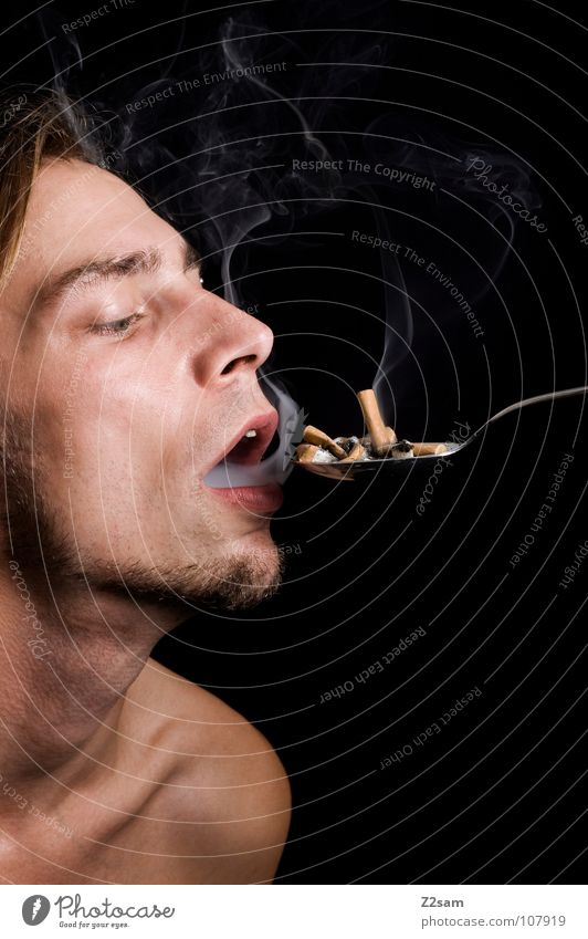 human ashtray Human being Ashtray Man Portrait photograph Spoon Smoking Dangerous Compulsion Shoulder Upper body Brown Feeding Hot Smoke Cigarette
