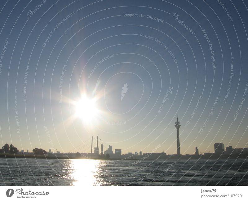 Sunglasses, 8.30 a.m. Sunrise Summer Duesseldorf River Brook Dusseldorf Rhine Silhouette Skyline