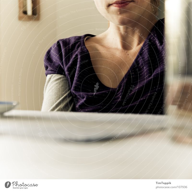 Woman Glass Mouth Table Living or residing Stripe T-shirt Communicate Lips Violet Wrinkles Concentrate Crockery Living room Top Still Life