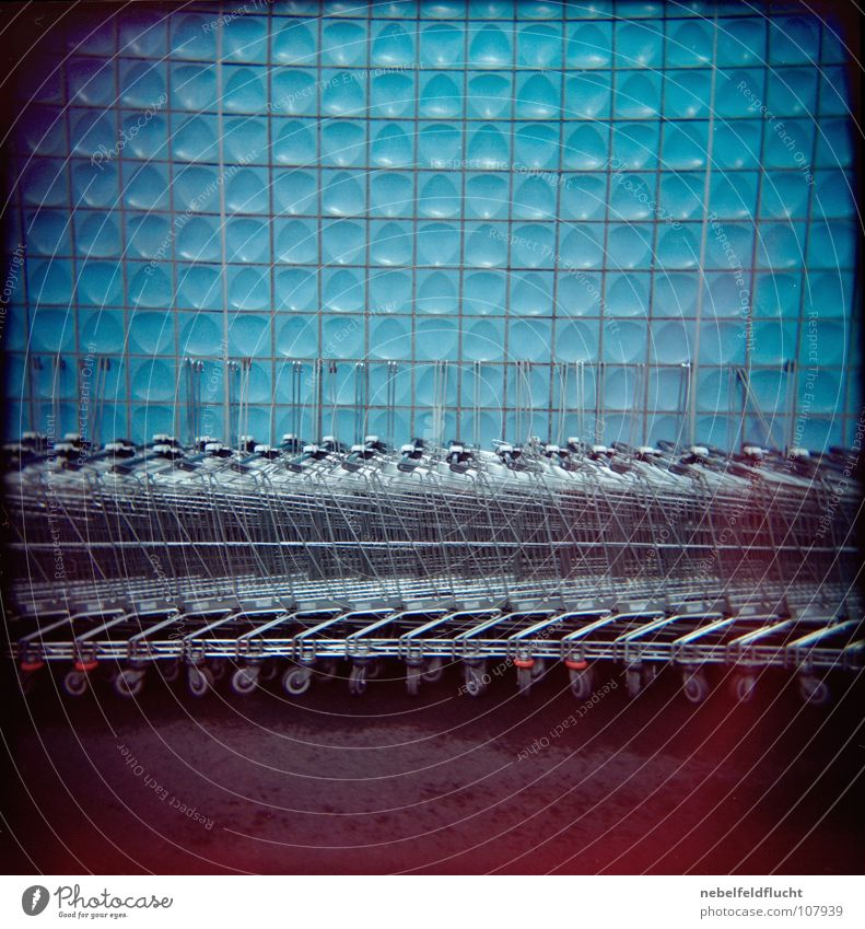 wagons Shopping Trolley Carriage Retro Cologne Bonn Red Light Dark Blur Error Pattern Vignetting Wet Warehouse Exposure False Shaft of light Broken Holga