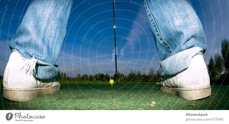 Sky Man Blue Green Sports Playing Grass Legs Contentment In pairs Lawn Ball Jeans Pants Golf Iron