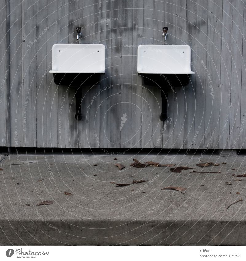 twins Autumn End of the season Square Gray Sink Wooden wall Swimming pool White Concrete Transience Empty Derelict Industry marzili Q. Water Canton Bern