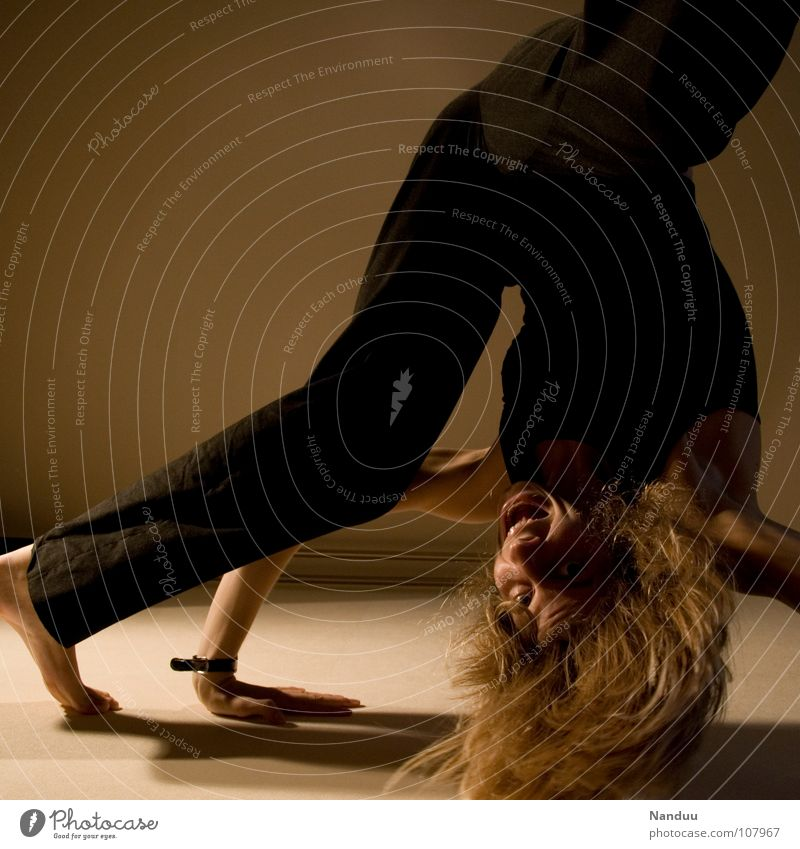Woman Joy Sports Playing Laughter Legs Healthy Funny Adults Arm Gymnastics Flying Thin To fall Scream Exceptional