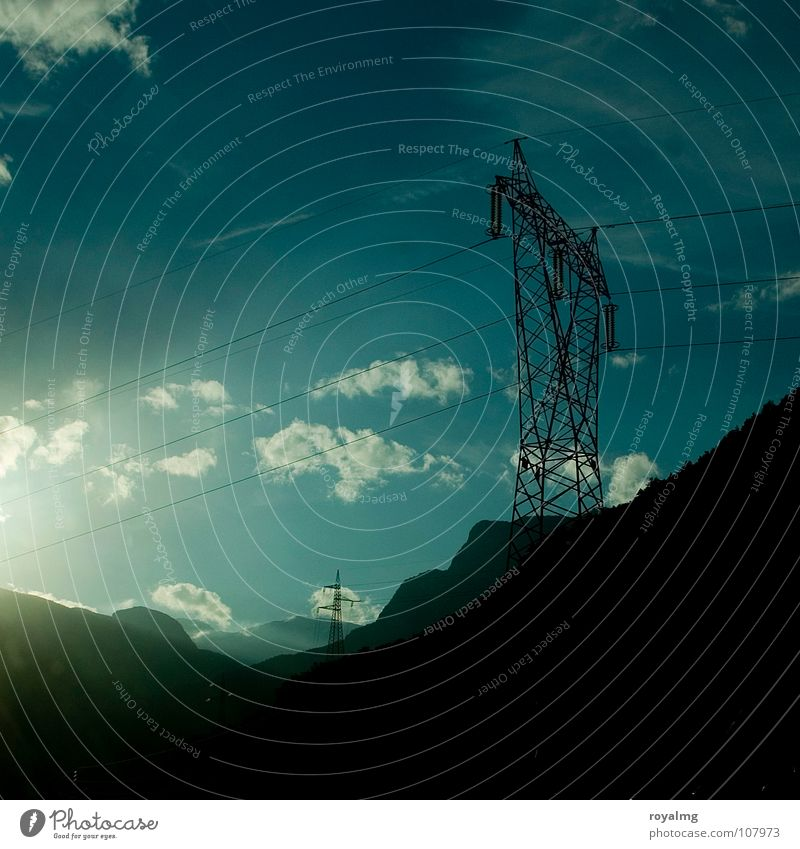 Sky White Sun Blue Black Clouds Mountain Power Force Industry Energy industry Electricity Electricity pylon Transmission lines High voltage power line