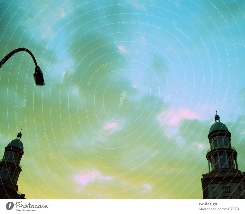 IN BETWEEN Black Dark Progress Frankfurter Tor Frankfurter Allee Lantern Clouds Sightseeing Television Art Interesting Landmark Symbols and metaphors Warped