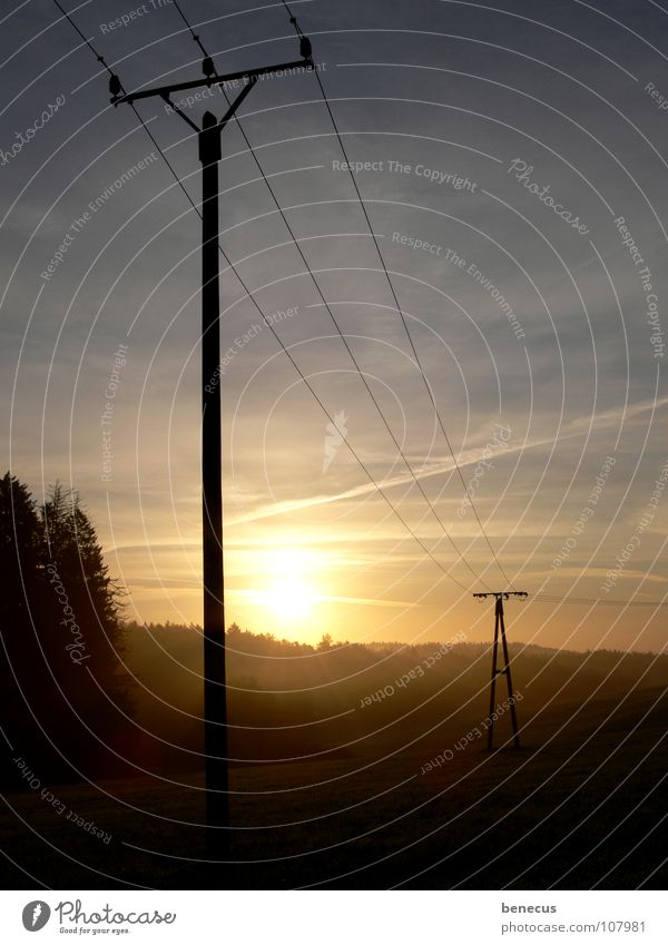 Sky Sun Lamp Meadow Landscape Bright Power Fog 3 Stairs Electricity Network Technology Net Connection Electricity pylon