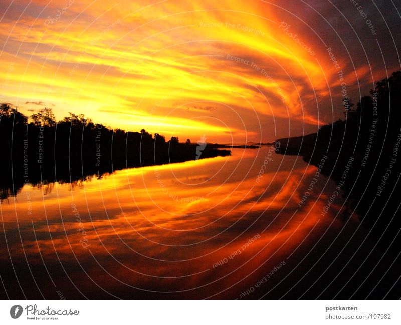 Sunset Water Beautiful Sky Sun Red Black Clouds Violet Sunrise Dusk Double exposure Symmetry
