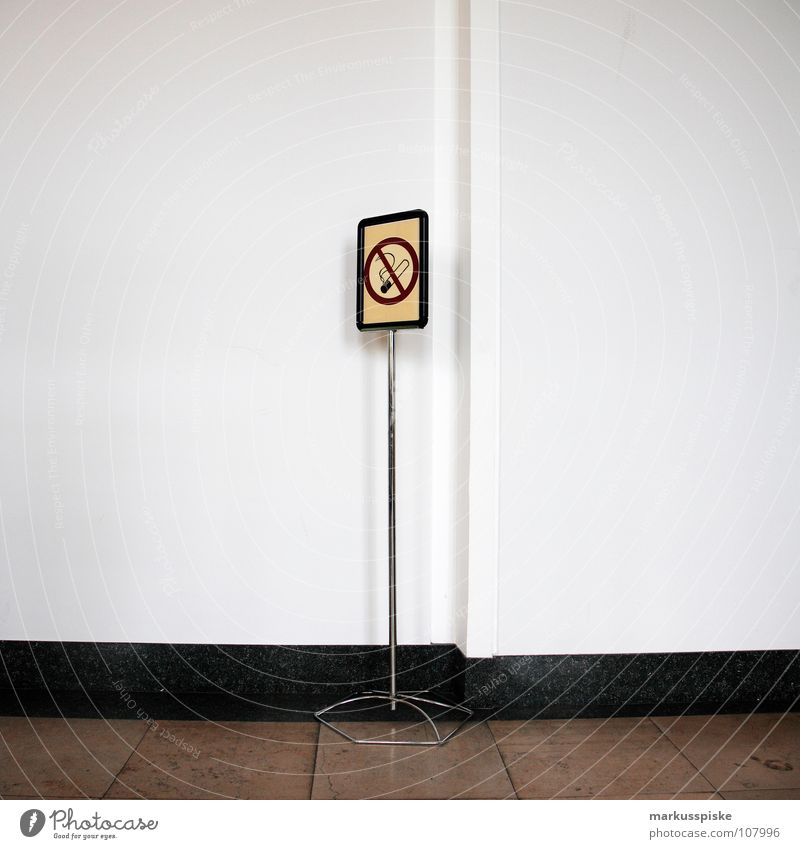NO SMOKING Bans Pillar Signage Cigarette Tobacco Hallway Open Building Wall (building) Wall (barrier) White Brown Warning label Warning sign Smoke Smoking