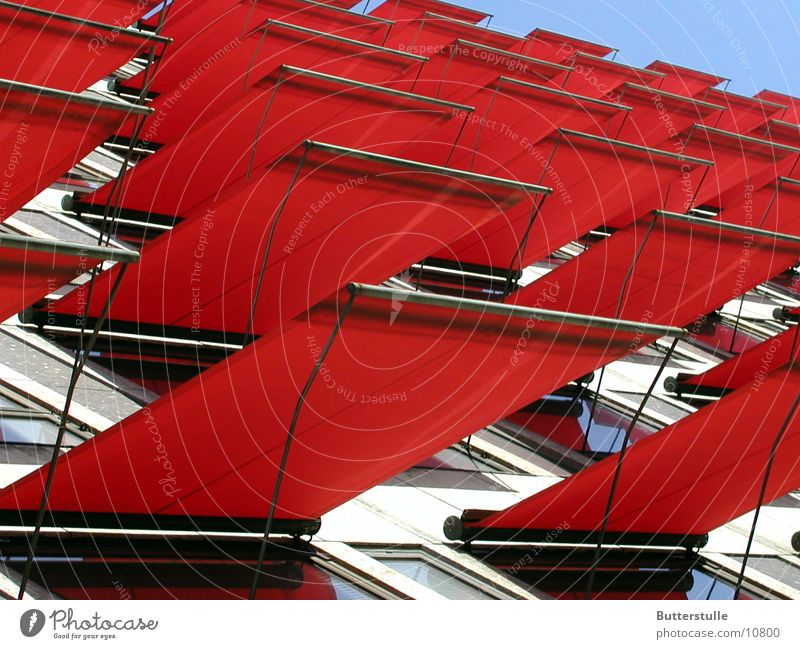 Awning2 House (Residential Structure) Sun blind Facade Red Obscure Weather protection Colour Architecture