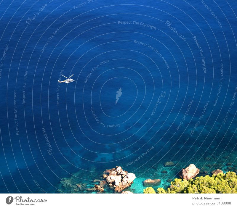 Water Ocean Blue Coast Flying Search Help Aviation Island Observe Idyll Paradise Heavenly Helpless Helicopter Perspective