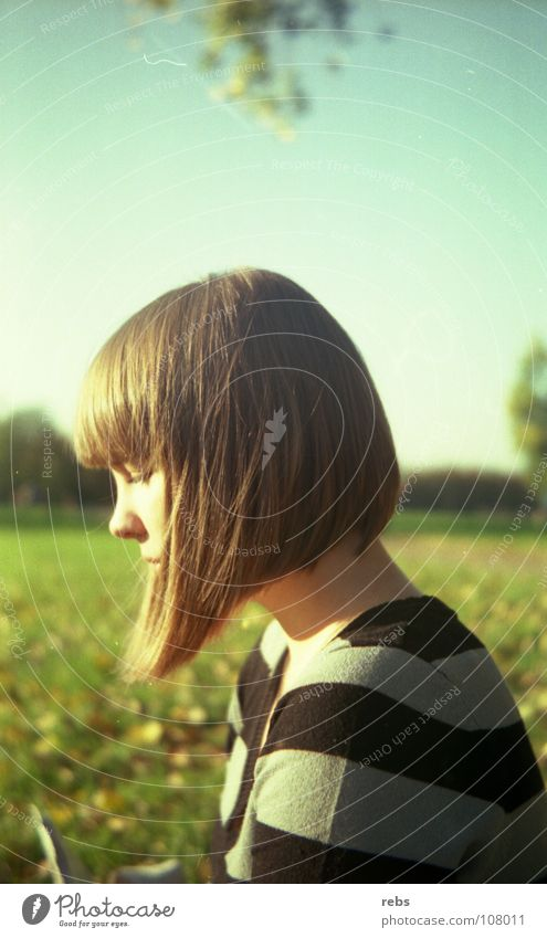 today as then Summer Autumn Physics Stripe Haircut Woman Park Meadow Green Leaf Colour Feeble Sun Warmth 60's 70's Hair and hairstyles Blue Sky