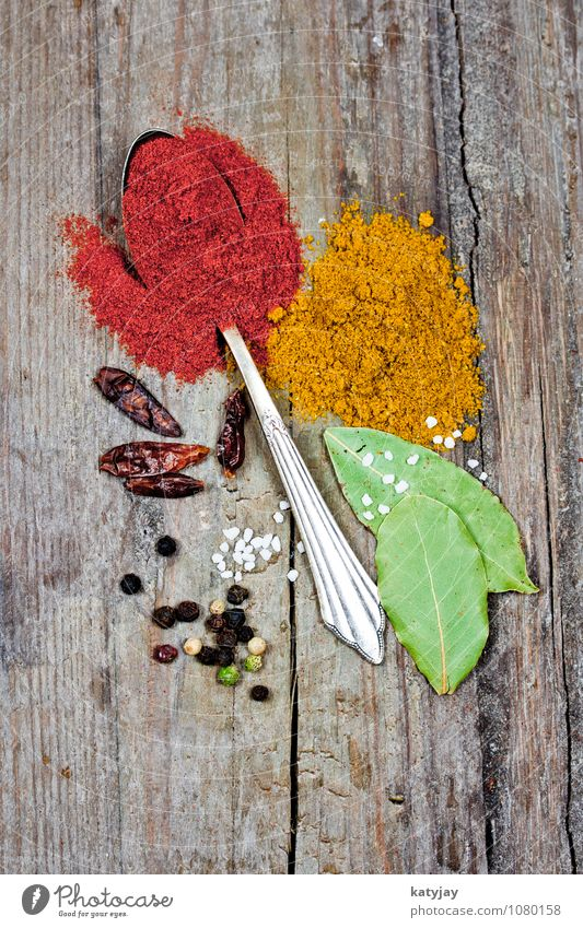 spices Herbs and spices Pepper Curry powder Peppercorn Sense of taste Spicy Spoon Healthy Eating Dish Food photograph Chili Salt Cooking salt sea salt Bay leaf
