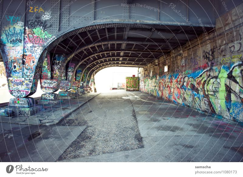Vacation & Travel City Wall (building) Graffiti Architecture Wall (barrier) Facade Tourism Trip Bridge Youth culture Manmade structures Factory Capital city
