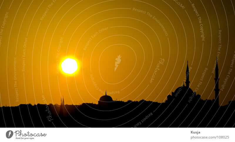 Old Sky Sun City Black Yellow Religion and faith Turkey Round Tower Islam Istanbul Mosque House of worship