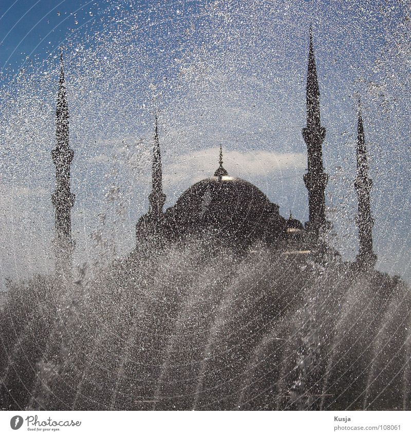 Sky Old Water Blue Sun Black Religion and faith Tower Round Well Tile Historic Inject Islam Istanbul Blue Mosque