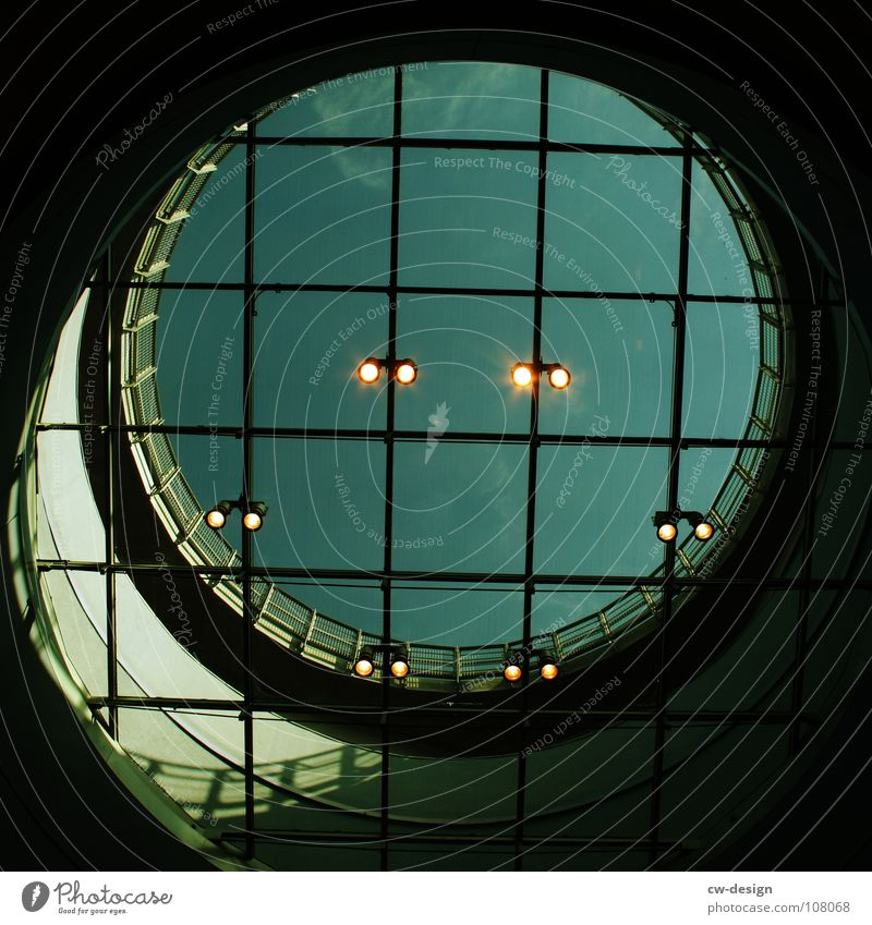 Architecture Modern Esthetic Circle Square Hollow Upward Construction Geometry Floodlight Symmetry Grid Graphic Section of image Circular