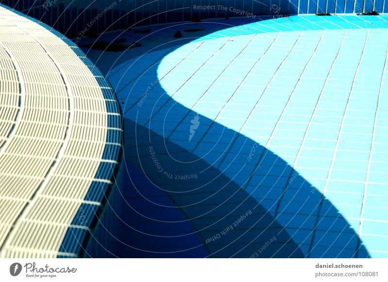 Water Blue Colour Autumn Line Background picture Empty Tile Cyan Drainage Swing Open-air swimming pool Curved Swimming pool Abstract Light blue