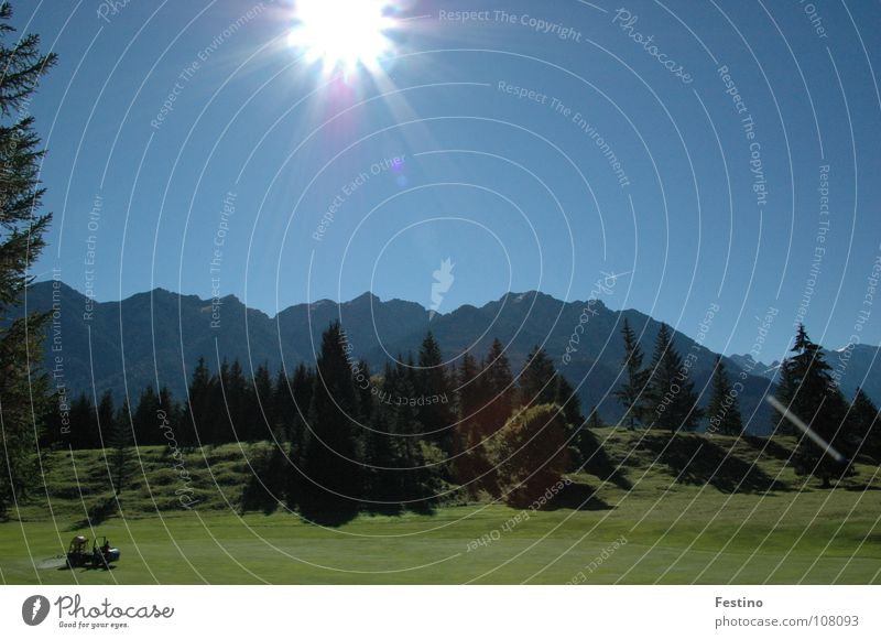 Mittenwald Golf Course Golf course Green Tree Meadow Mountain Sun Blue Shadow Sky