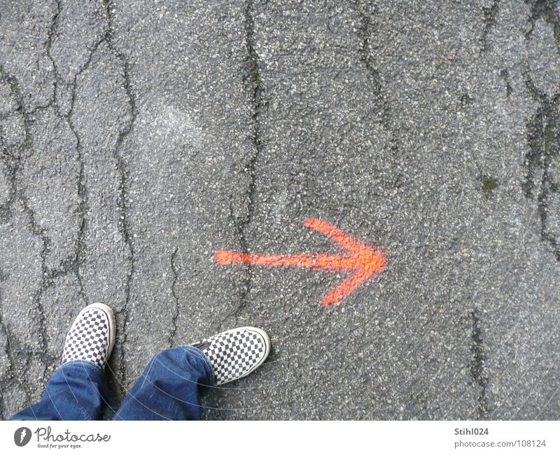 Red Gray Think Footwear Wait Beginning Future Cool (slang) Break Hope Curiosity Asphalt Arrow Concentrate Direction Opinion