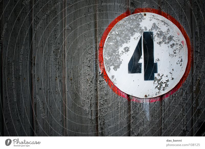 NUMB3R 4 II Digits and numbers Classification Second-hand Old Derelict Typography White Wood Black Red Gray Spray Middle Design Splinter Nail Fastening Frontal