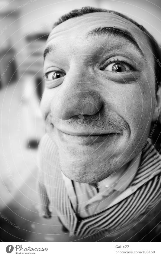 Gotcha!!! Portrait photograph Man Funny Large Grinning Life Happiness Humor Spirited Positive Comical Joy Recklessness Direct Near Discover Fisheye Head
