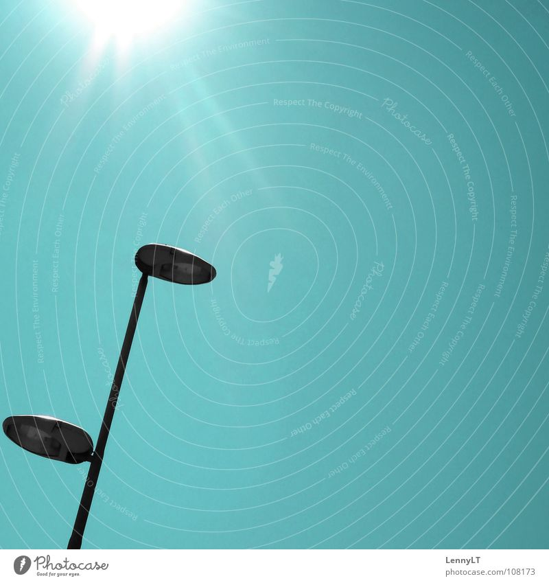 LUCKY # TWENTY Lantern Street lighting Turquoise Dazzle Minimal Traffic infrastructure Celestial bodies and the universe Modern Sun glare minimalism LennyLT