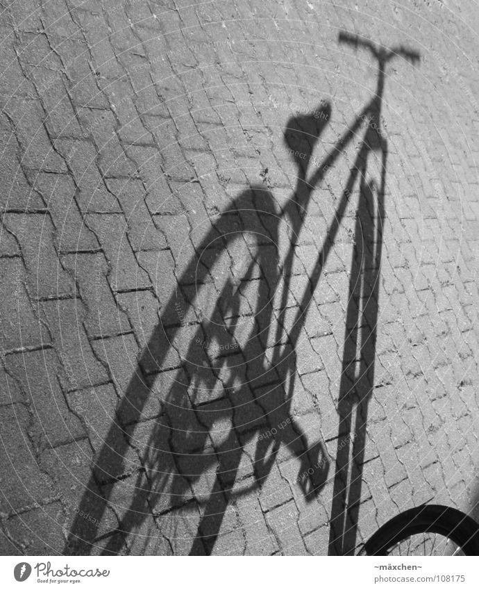 shadow wheel Bicycle Black White Crank Pedal Bar Fork Brick Furrow Driving Stay Stagnating Cycle race Playing Extreme sports Shadow dirt street
