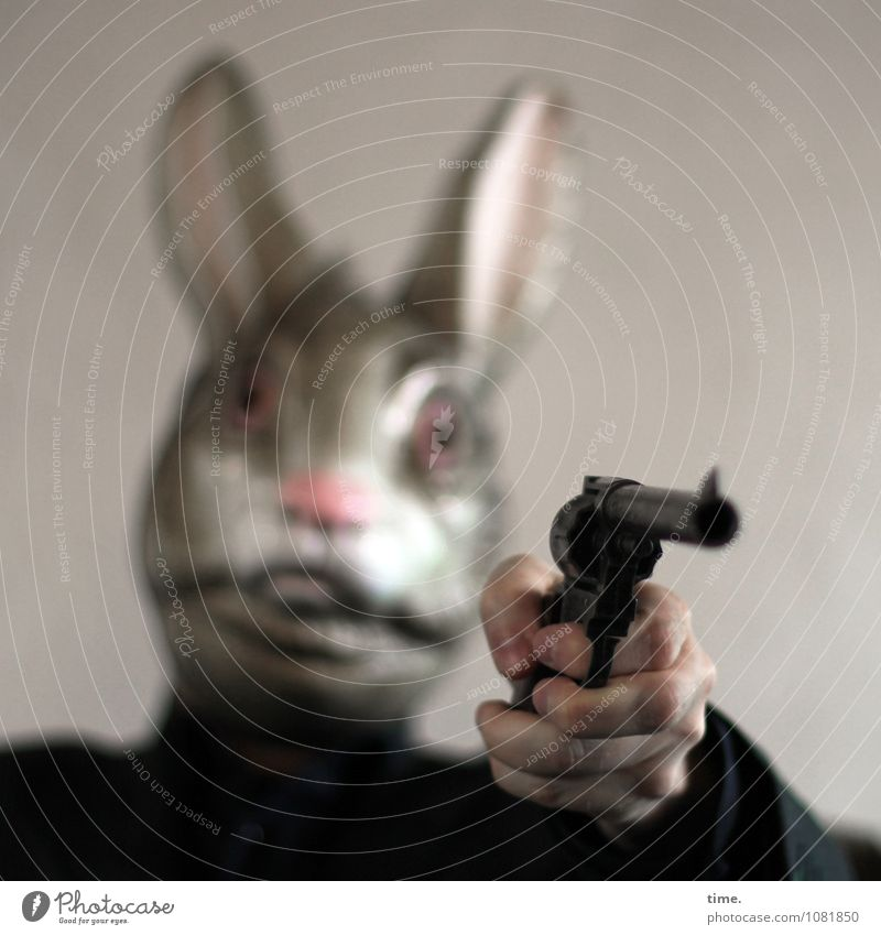 Misunderstanding. Let's get your balls out of here. Handgun Weapon Gunpoint Firearm 1 Human being Artist Stage play Mask Hare & Rabbit & Bunny Animal To hold on