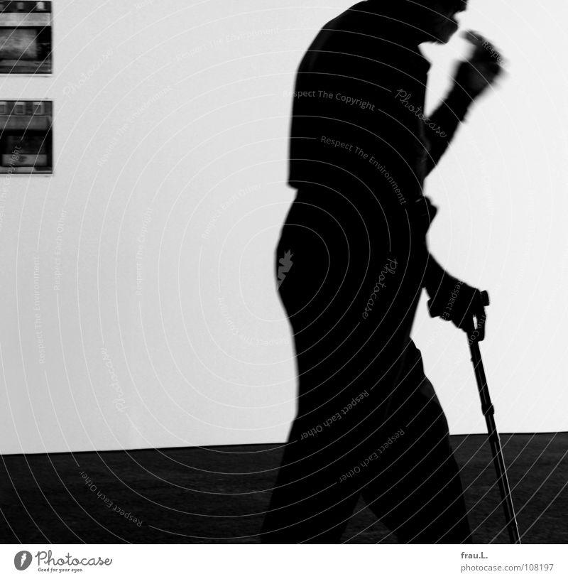 Man Senior citizen Wall (building) Walking Speed Floor covering Stick Flexible Walking aid Walking stick