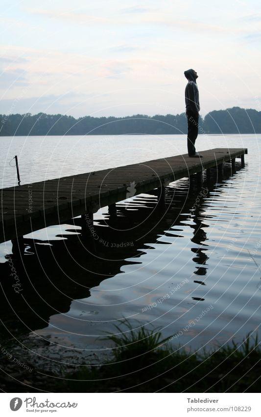 Man Water Calm Forest Lake Waves Fog Meditation Footbridge Pond