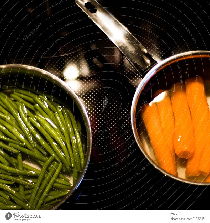 gsund Healthy Green Fresh Carrot Beans Cooking Pot Stove & Oven Nutrition Vitamin Nutrients Graphic Simple Round Circle Black Pattern Hot Physics Side dish