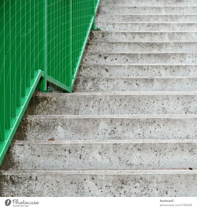 green wave Concrete Gray Green Cold Career Go up Upward Downward Detail Traffic infrastructure Stairs concrete staircase Handrail career ladder Tall Line